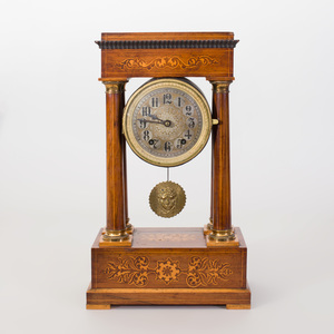Charles X Gilt-Metal-Mounted Fruitwood Inlaid Rosewood Mantle Clock