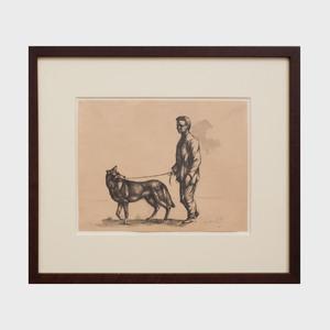 Leon Kelly (1901-1982): Auto Retrato con Perrot (Self Portrait with Dog)