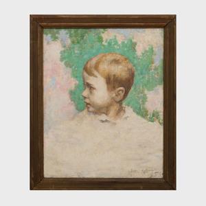 Georges Le Serrec de Kervily (1883-?):  Portrait of a Boy