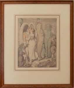 Thomas Rowlandson (1756-1827): Amorous Couple with Egyptian Objects
