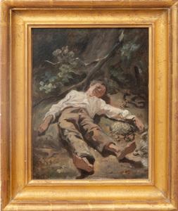 Attributed to Octave Nicolas Francois Tassaert (1800-1874): Le Petit démicheur d'oiseaux