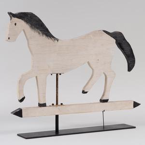 Folk Art Painted Wood Prancing Horse Weathervane