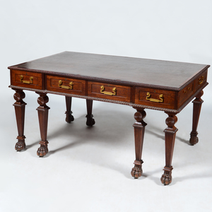 George III Style Carved Oak Writing Desk