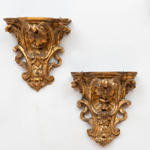 Pair of Louis XV Style Giltwood Wall Brackets