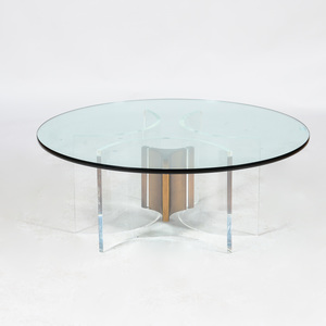 Acrylic and Plate-Glass Circular Low Table