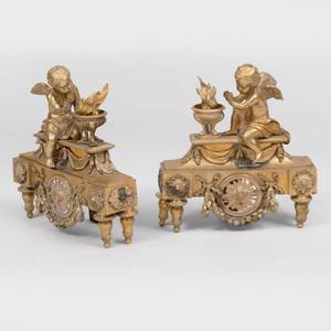 Pair of Louis XVI Style Bronze Chenets