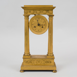 Charles X Style Gilt-Metal Mantel Clock