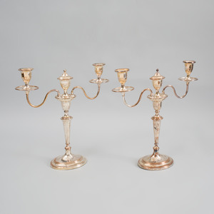 Pair of George III Sheffield Plate Two-Light Candelabra