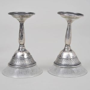 Pair of American Silver Casters and a Set of Six American Silver Mounted Glass Cordials