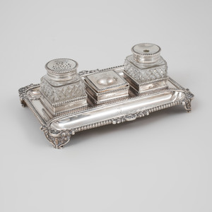 George III Silver and Cut-Glass Inkstand