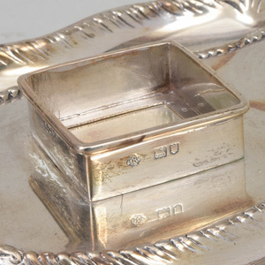 Edward VII Silver and Cut Glass Inkstand