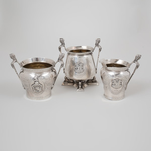 Three C.A Stevens & Co. Egyptian Revival Silver Teawares