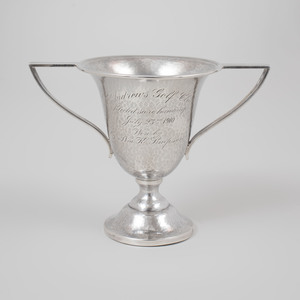 Marcus & Co. Silver Two Handled Golf Trophy