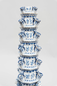 Large Dutch Delft Blue and White Six Tier Tulipières