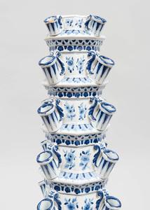 Large Dutch Delft Blue and White Six Tier Tulipières