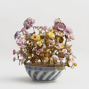 Chinese Export Porcelain Bowl for the Persian Market, Mounted with Tôle Branches and European Porcelain Flowers