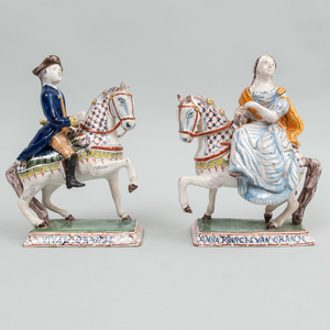 Pair of Dutch Polychrome Delft Commemorative Figures, 'Vivat Oranje' and 'Anna Princes Van Oranje'