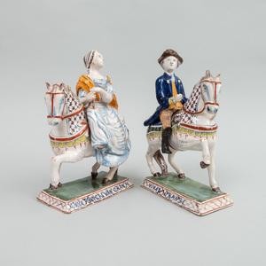 Pair of Dutch Polychrome Delft Commemorative Figures, 'Vivat Oranje' and 'Anna Princes Van Oranje'