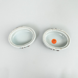 Pair of Dutch Polychrome Delft Boxes and Covers