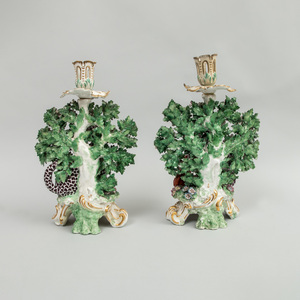 Pair of Chelsea Porcelain Fable Candlesticks
