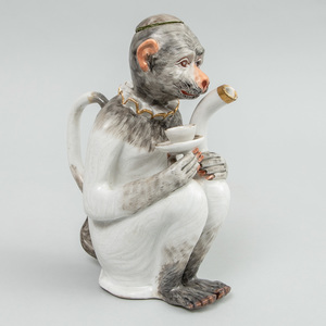 Meissen Monkey Form Teapot and Cover