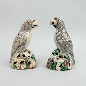 Near Pair of Chinese Export Famille Verte and Biscuit Porcelain Parrots