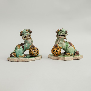 Small Pair of Chinese Famille Verte Porcelain Figures of Buddhistic Lions