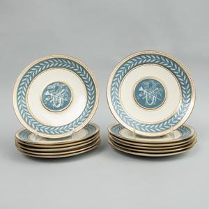 Set of Twelve Mintons Pâte-Sur-Pâte Dessert Plates