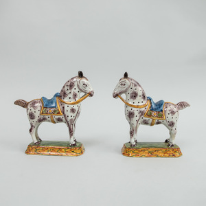 Pair of Dutch Delft Models of Saddled Horses