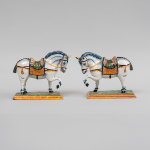Pair of Small Dutch Delft Models of Prancing Horses