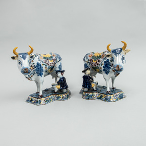 Pair of Dutch Polychrome Delft Milking Groups