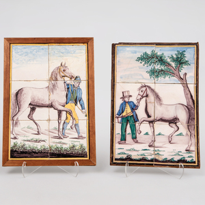 Two Delftware Six Tile Pictures of Figures with Horses