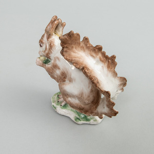 English Porcelain Model of a Squirrel Eating a Nut
