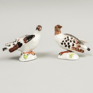 Pair of Meissen Porcelain Small Models of Doves