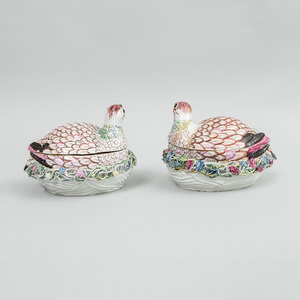 Pair of English Porcelain Quail Boxes and Covers