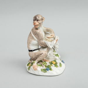 Meissen Porcelain Model of a Monkey Gathering Seeds, After J.J. Kändler