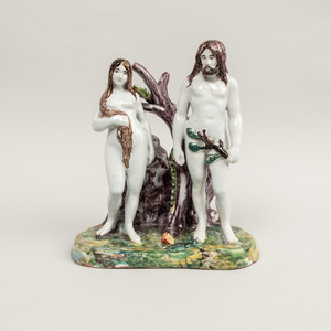 French Faience Group of Adam and Eve