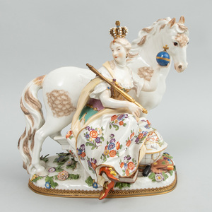 Meissen Gilt-Metal Mounted Porcelain Group Emblematic of Europe