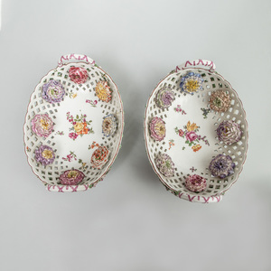 Pair of Chelsea Porcelain Flower Encrusted Reticulated Baskets