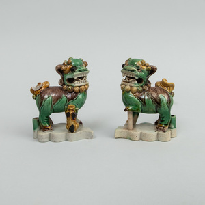 Small Pair of Chinese Famille Verte Porcelain Figures Buddhistic Lions