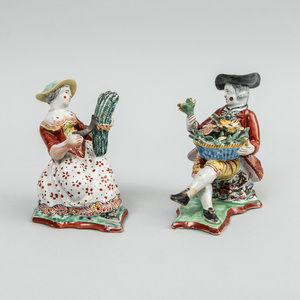 Pair of Dutch Delft Figures Emblematic of Spring and Summer