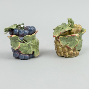Pair of Continental Porcelain Grape Form Pots and Covers