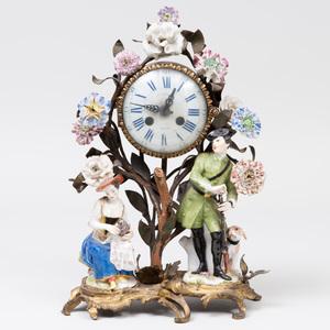 Jean Baptiste Baillon Gilt-Bronze-Mounted Porcelain Mantle Clock
