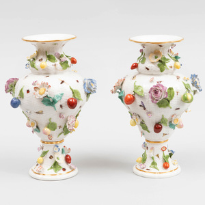 Pair of Meissen Porcelain Fruit and Flower Encrusted Vases