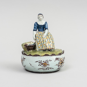 Dutch Delft Figural Butter Tub and Cover