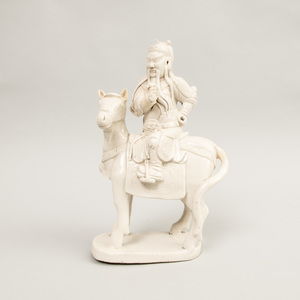 Chinese White Glazed Porcelain Equestrian Group
