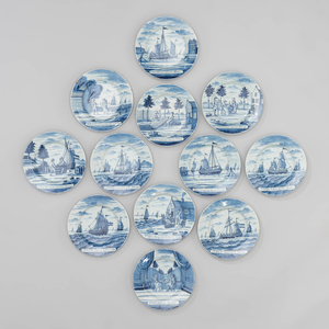 Set of Twelve Blue and White Delft 'Herring Fishing' Plates, Designed by Justus Brouwer