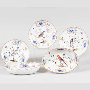Meissen Porcelain Part Service Decorated with Birds