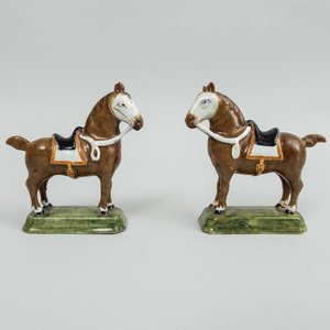 Pair of Dutch Delft Models of Saddled Brown Horses