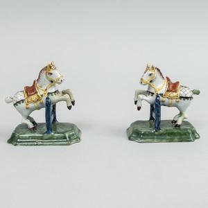 Pair of Dutch Delft Circus Horses